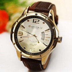 Julius Men Watch Arabic Numbers Strips Dots Hour Marks with Round Dial Leather Watchband