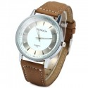 WoMaGe 1186 Stainless Steel Men Analog Quartz Watch with PU Leather Strap