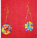 Circular beaded multicolour earing