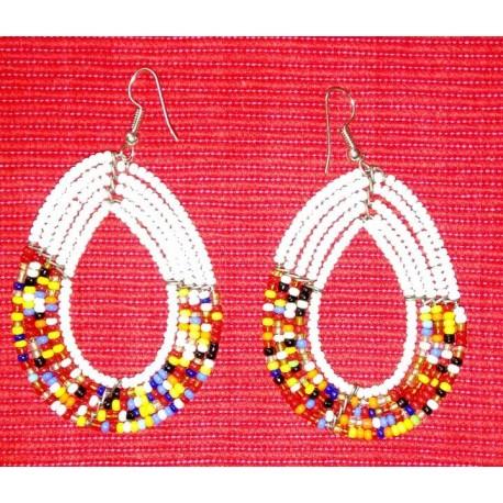 Oval-shaped Multi-coloured Earing
