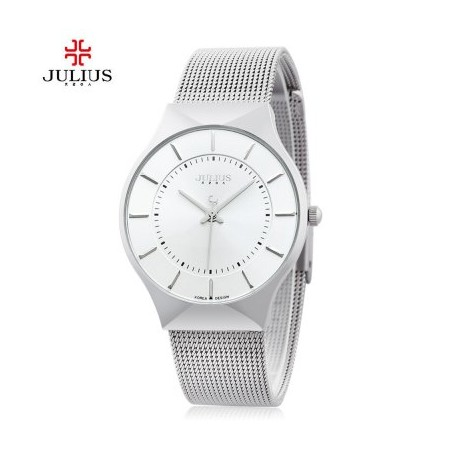 Julius JA - 577 Quartz Wrist Watch for Men Ultrathin Dial Stainless Steel Strap