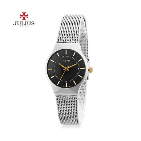 Julius JA - 577 Quartz Wrist Watch for Women Ultrathin Dial Stainless Steel Strap