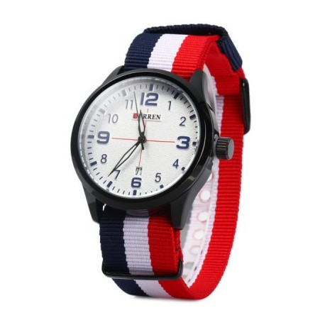 Curren 8195 Male Quartz Watch Date Display Canvas Strap Wristwatch