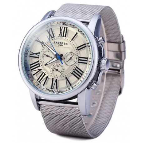 LaoGeShi Men Mechanical Watch Roman Numbers Hour Marks with Round Dial Rubber Watch Band