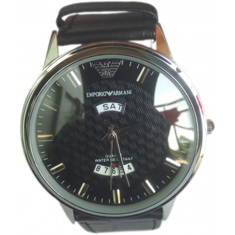 Emporio Armani Leather Men's Wrist Watch with Day & Date Function