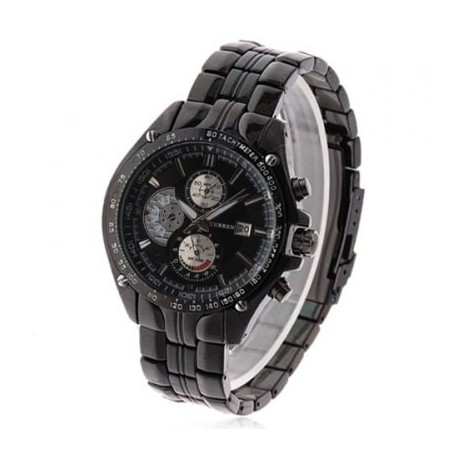 Fashion Curren Chronometer Watch w/ Black Dial & Date Display - Black