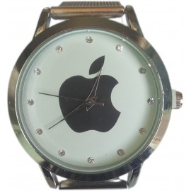 Apple-style Ladies Silver Metal Wrist Watch