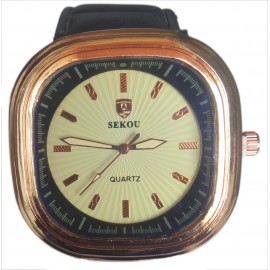Sekou Men's Quartz Watch with Rounded Square Face