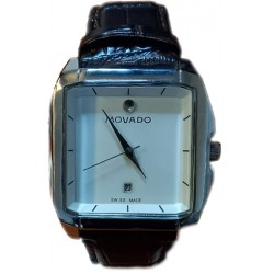 MOVADO Men's Quartz Leather Wrist Watch with Square Face & Date Function