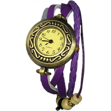 Women Retro Bracelet Watch with Butterfly Pendant Design and Weave Leather Watchband