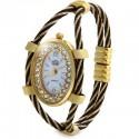 USS Oval Dial Diamond Quartz Watch Bracelet Steel Wire Band for Women