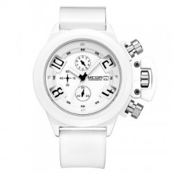 MEGIR 2002 Date Function Water Resistant Male Quartz Watch with Silicone Band Working Sub-dials