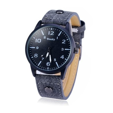 Weesky 1203G Quartz Watch with Leather Strap for Men