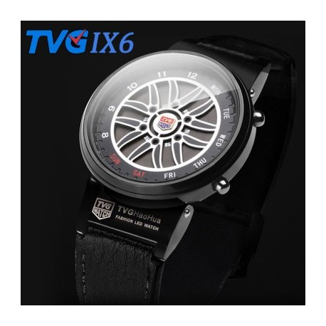 TVG IX6 Water Resistant LED Male Watch with Date Day Function Genuine Leather Band