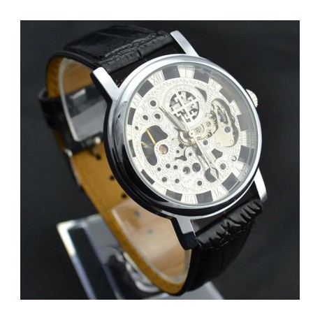 Men's Waterproof Black Leather Automatic Watch with Round Dial