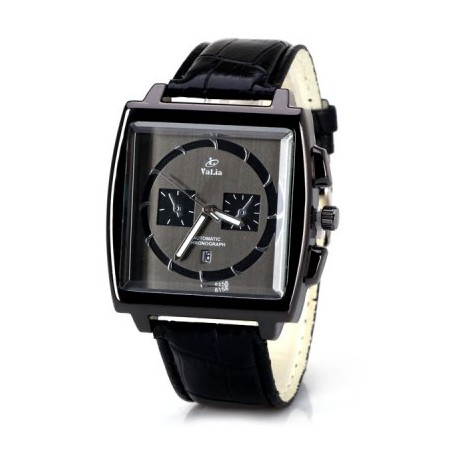 Fashion Men Quartz Watch with Date Design Analog Square Dial and Leather Watch Band