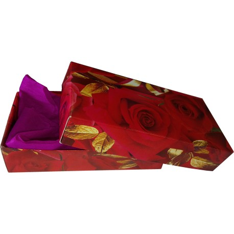 Paper Gift Box Small - Red Roses