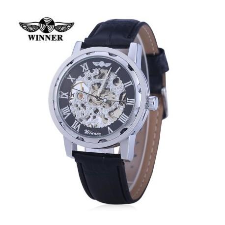Winner W001 Male Hollow Leather Mechanical Watch