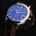 Yazole 296 Date Function Dual Scales Men Quartz Watch Leather Strap Wristwatch
